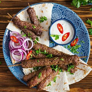 Organic mini kafta skewers